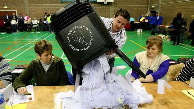 Election count at Newtonards, Co. Down, 2010 general election