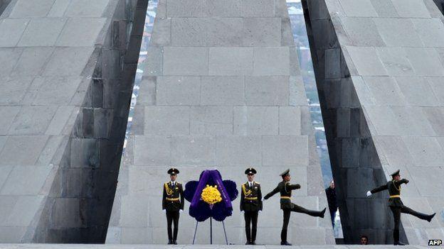 Ceremonies at the Tsitsernakaberd Memorial in Yerevan, 24 April