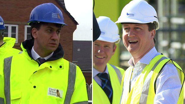 Ed Miliband and David Cameron in hard hats