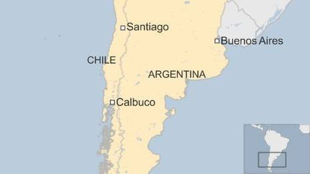 Map of Argentina and Chile, showing Buenos Aires, Santiago and the Calbuco volcano