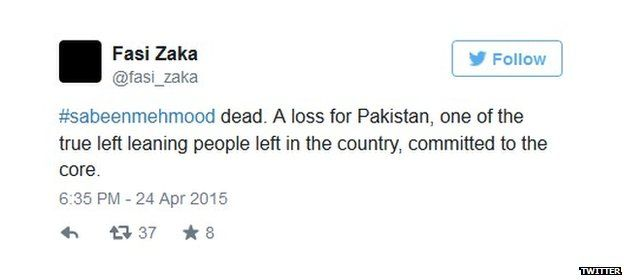 Tweet by Fazi Zaka on the death of Sabeen Mehmud