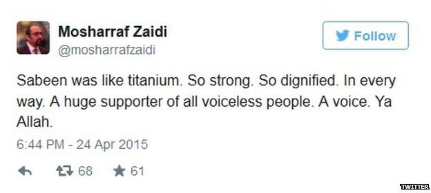 Tweet by Mosharraf Zaidi on the death of Sabeen Mehmud