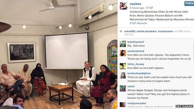 Instagram post by Sabeen Mehmud shortly before her death