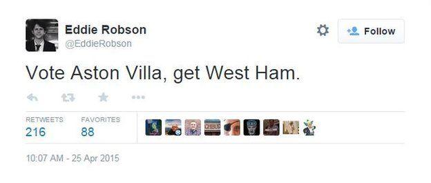 Eddie Robson tweet