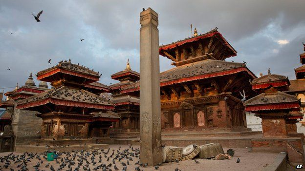 A pillar where a statue of Garud, a Hindu divine character, stood is partially damaged after Saturday's earthquake at the Basantapur Durbar Square in Kathmandu, Nepal (April 26, 2015)