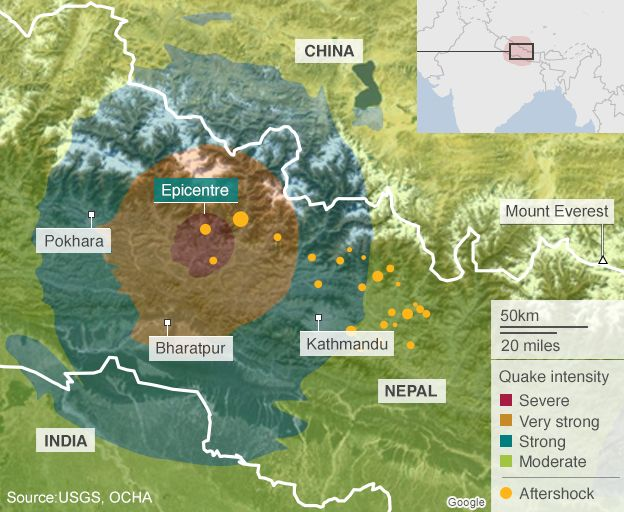 Nepal earthquake eight million people affected un says bbc news map of nepal showing areas affected by earthquake gumiabroncs Image collections