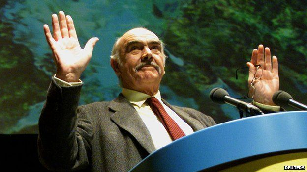 Sean Connery at an Scottish National Party rally