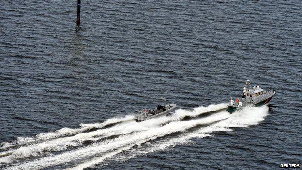 Finnish Border Guard boats patrol the waters near Helsinki, April 28, 2015.