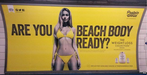 """Protein World's advert, asking """"Are you beach body ready?"""""""