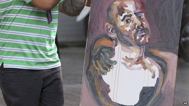 A self-portrait drawn by Sukumaran after visiting the prison island of Nusakambangan