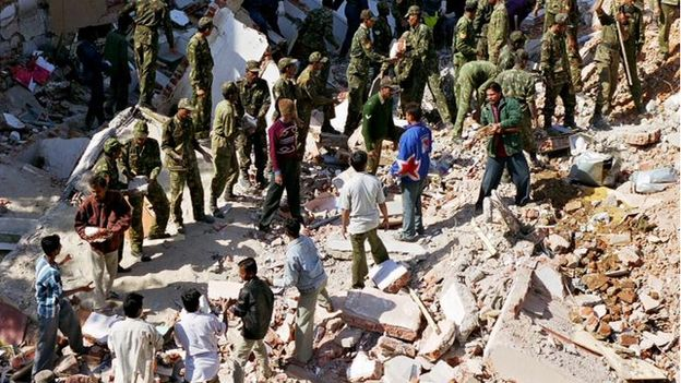 Indian army helping to clear rubble in Ahmedabad, in the state of Gujarat in the aftermath of the Bhuj earthquake, India, on 26 January 2001