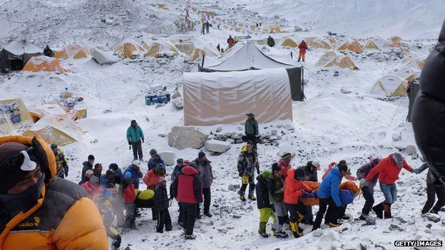 Rescuers at Everest Base Camp