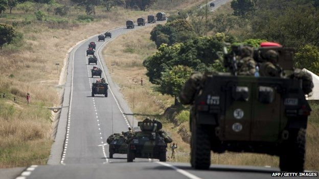 French military arriving from Cameroon, drive on a road leading to Bouar, CAR, on December 7, 2013.