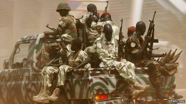 Seleka soldiers patrol in Bangui December 3, 2013