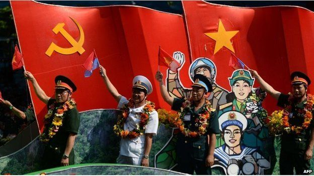 Vietnamese veterans take part in a parade marking the 40th anniversary of the fall of Saigon (former name of Ho Chi Minh City) in Ho Chi Minh City on April 30, 2015.