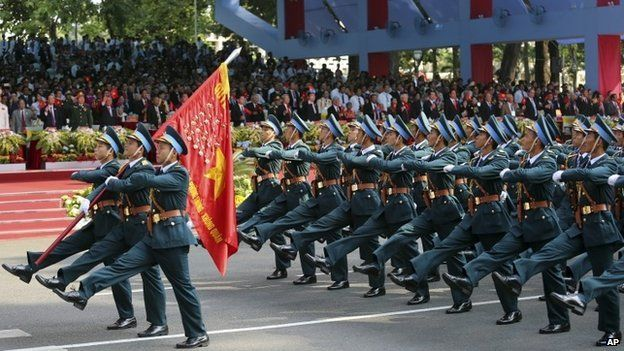 Vietnamese Air Force takes part in a parade celebrating the 40th anniversary of the end of the Vietnam War which is also remembered as the fall of Saigon, in Ho Chi Minh City, Vietnam, Thursday, April 30, 2015.