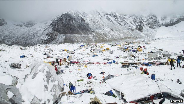 The Mount Everest south base camp in Nepal is seen a day after a huge earthquake-caused avalanche killed at least 17 people