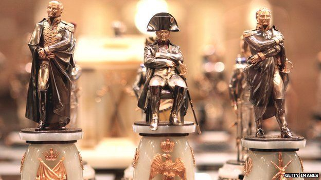 Napoleon and his marshals rendered as chess pieces