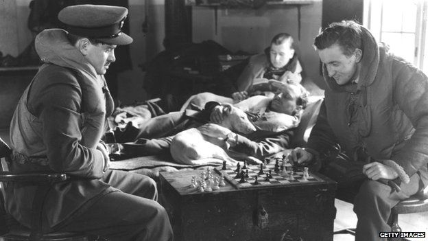 RAF officers playing chess