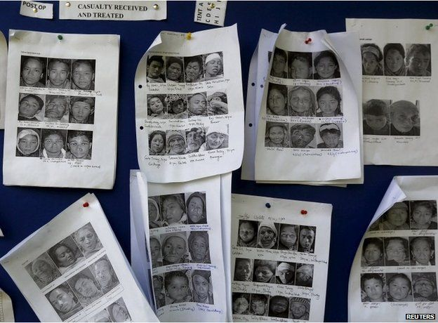 Photos of the earthquake survivors are displayed on a notice board inside the Army hospital in Kathmandu