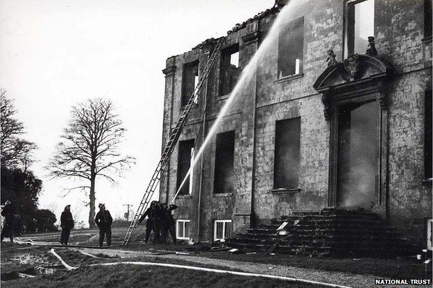 Dunsland House on fire in 1967
