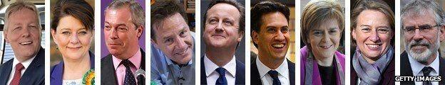 Peter Robinson, Leanne Wood, Nigel Farage, Nick Clegg, David Cameron, Ed Miliband, Nicola Sturgeon, Natalie Bennett, Gerry Adams