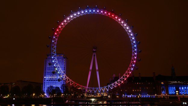 Landmarks including the London Eye were lit up in pink to mark the birth