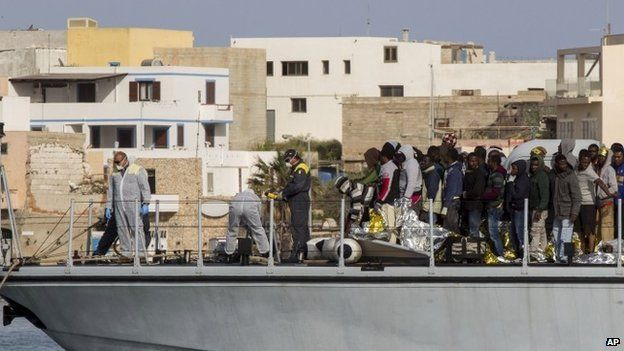 Rescued migrants arrives in the harbour of Lampedusa, Southern Italy, Saturday, May 2, 2015.