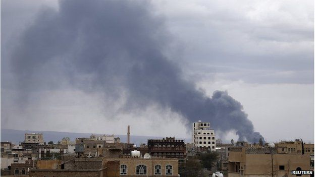 Smoke billowing after an airstrike against Sanaa's airport, 4 May 2015