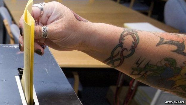 Tattooed arm casts vote in ballot box