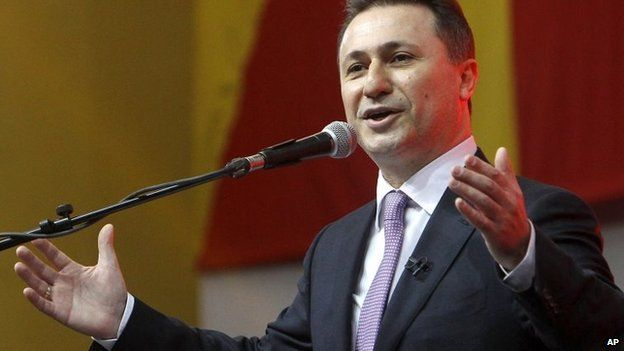 Nikola Gruevski greets supporters at the party's gathering in the capital Skopje, Macedonia on 15 March 2015