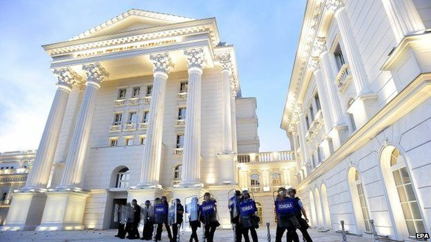 Police officers secure the government building during an anti -government protest which escalated in the evening hours in Skopje, Macedonia on 5 May 2015.