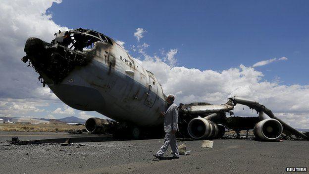 Destroyed Yemen air force plane
