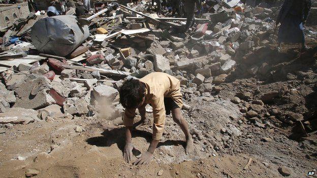 Destruction in a civilian area of Sanaa