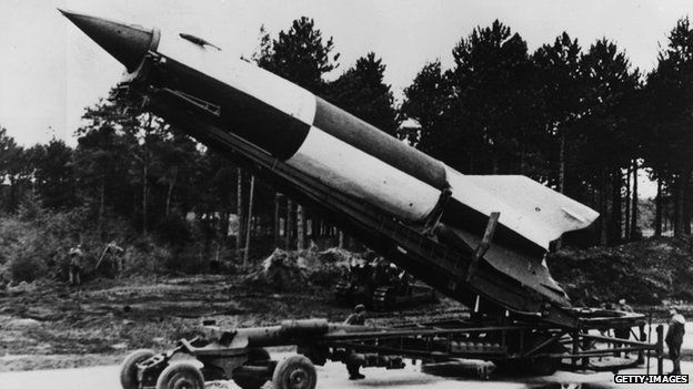 German V2 rocket ready for launching at Cuxhaven in Luneburg district, Lower Saxony. 1945