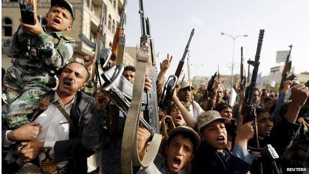 Young Houthi supporters in Sanaa (27/04/15)