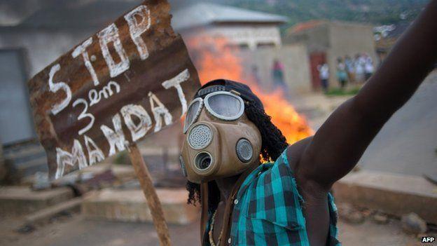 A protester in Bujumbura 6 April 2015