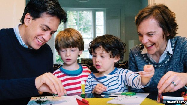 Ed Miliband's Christmas Card 2014. Ed Miliband with his wife Justine Thornton and sons Daniel and Samuel making a glitter picture