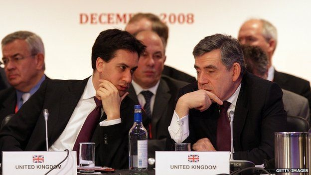Mr Miliband and PM Gordon Brown in 2008