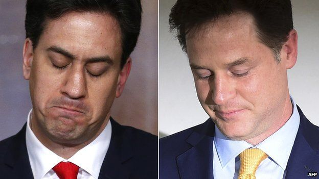 A combination picture shows opposition Labour Party leader Ed Miliband (L) and Liberal Democrat Party leader Nick Clegg