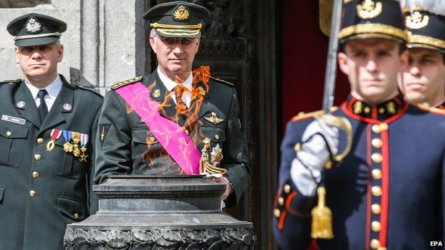 King Philippe of Belgium (centre) at WW2 commemoration in Brussels on 8 May 2015