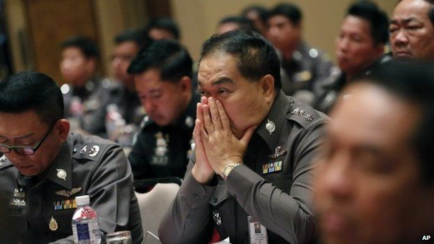Thai policemen listen to Thai Police chief Gen Somyot Poompanmoung during a meeting about human trafficking at the police headquarters in Bangkok, Thailand , Friday, May 8, 2015.