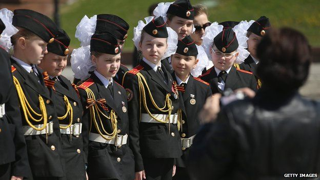 Young cadets in Russia prepare for Saturday's Victory Parade on 8 May 2015