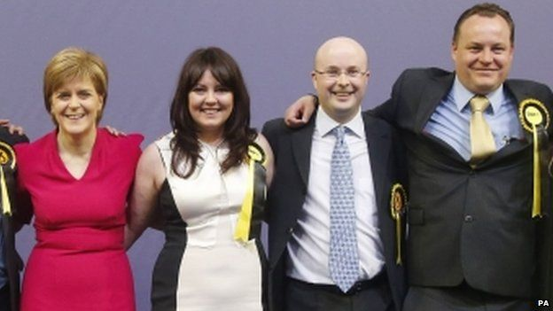 Natalie McGarry poses with SNP leader Nicola Sturgeon, and other newly elected SNP MPs Patrick Grady Christopher Stephens