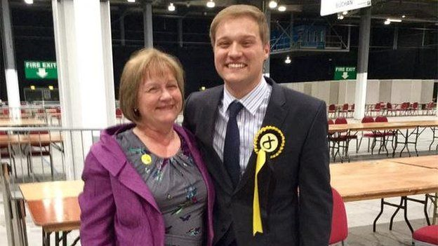 Stuart Donaldson with his mother