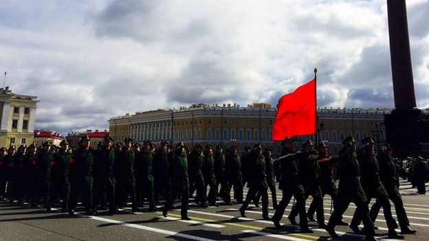 Russian soldiers prepare for a Victory Day parade in St Petersburg