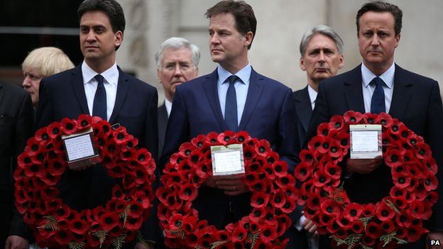Ed Miliband, Nick Clegg, David Cameron at the Cenotaph on 8 May 2015