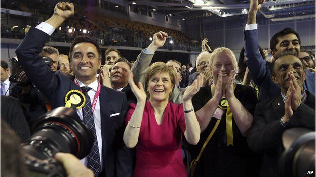 SNP leader Nicola Sturgeon celebrates at the count of Glasgow constituencies for the general election on 8 May 2015