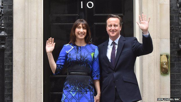 Samantha and David Cameron outside Number 10 Downing Street on 8 May 2015