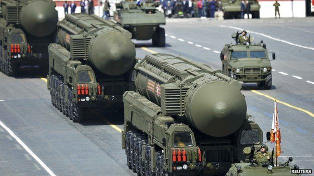 Russian RS-24 Yars/SS-27 Mod 2 intercontinental ballistic missiles drive during the Victory Day parade at Red Square in Moscow, 9 May